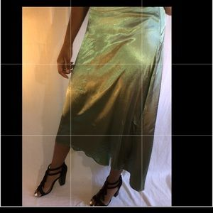 Olive green silk skirt
